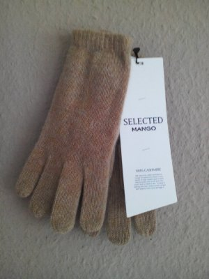 Mango Knitted Gloves sand brown cashmere