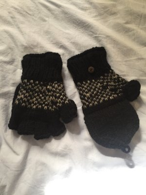 Gants en tricot noir-blanc cassé