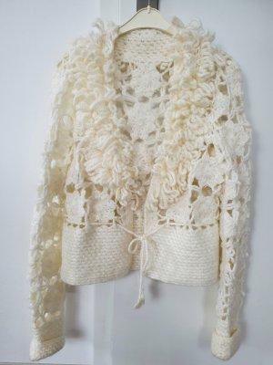 unknown Veste tricotée en grosses mailles blanc-crème