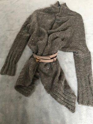 Coarse Knitted Jacket light brown polyamide