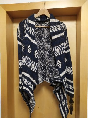Review Coarse Knitted Jacket white-dark blue