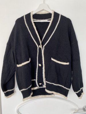 Knitted Cardigan black-natural white