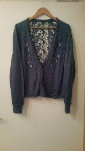 Ulla Popken Veste tricotée en grosses mailles bleu