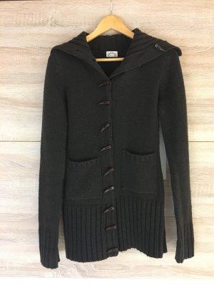 Veste tricotée en grosses mailles brun foncé