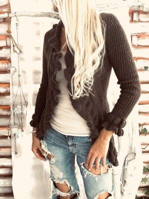 Wełniany sweter ciemnobrązowy-brązowy