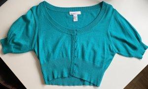 MNG Basics Short Sleeve Knitted Jacket turquoise