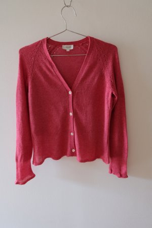 Allude Knitted Cardigan raspberry-red linen