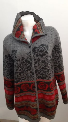 Deerberg Coarse Knitted Jacket dark grey-red