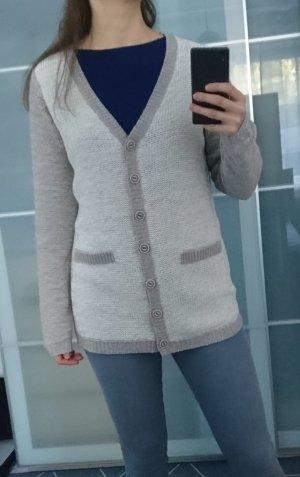 Rock angel Cardigan tricotés gris brun-blanc cassé