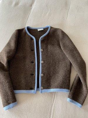Stapf Wełniany sweter ciemnobrązowy-chabrowy