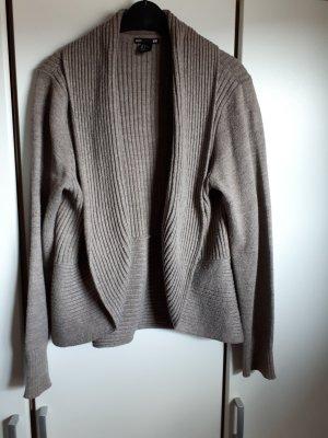 Basic Cardigan in maglia marrone-grigio