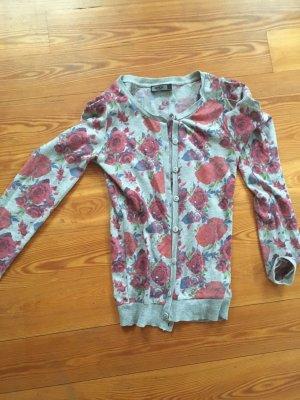 Strickjacke Cardigan Blumen geblümt Rosen grau