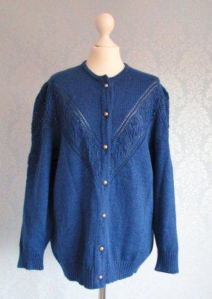 Strickjacke Cardigan Größe 50 Wolle Blau Royalblau Strick Jacke Retro Wolle
