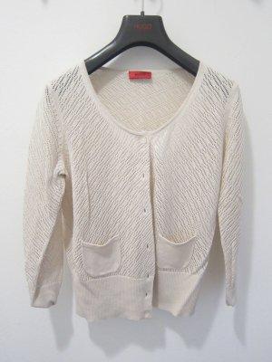 HUGO Hugo Boss Szydełkowany sweter jasnobeżowy Jedwab