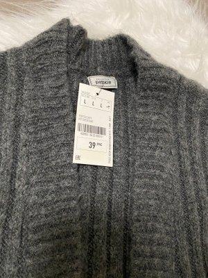Pimkie Wełniany płaszcz szary-ciemnoszary