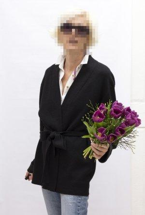 Strickjacke Cardigan schwarz Kimono-Stil, Gr. 38, weite Ärmel, Bindegürtel