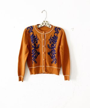 strickjacke • cardigan • vintage • bohostyle • hippielook • chestnutfarben • blau