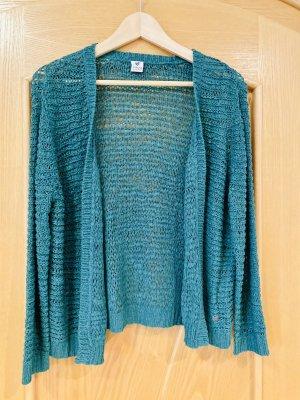 17&co Veste en tricot bleu pétrole-bleu cadet acrylique
