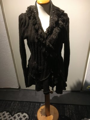 Knitted Wrap Cardigan bronze-colored