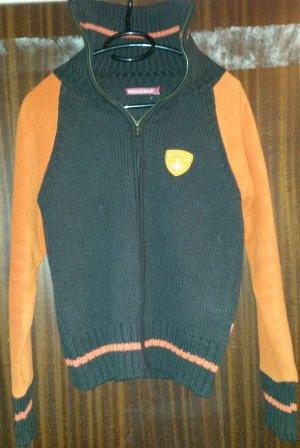 Brodway Giacca in maglia marrone-nero-arancio neon