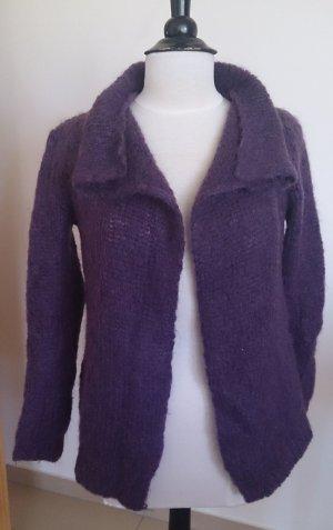 The Kooples Veste tricotée en grosses mailles violet foncé mohair