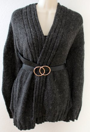 H&M Basic Coarse Knitted Jacket dark grey