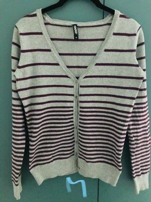 1982 Veste en tricot gris clair-bordeau