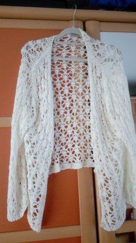 Crochet Cardigan white polyacrylic