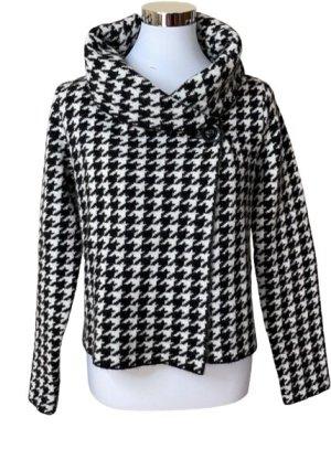 Adrienne Vittadini Wełniany sweter czarny-biały