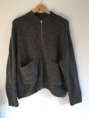 H&M Chaqueta de lana gris antracita-gris oscuro