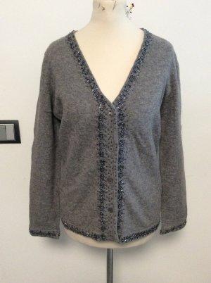 Strickjacke grau Gr 38 Wolle