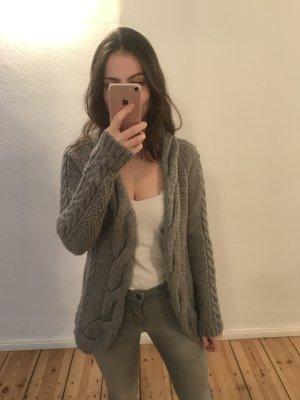 Zara Knit Manteau en tricot gris