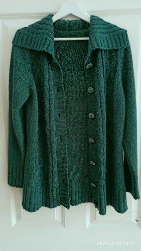Coarse Knitted Jacket dark green-forest green