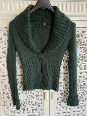 H&M Knitted Wrap Cardigan dark green