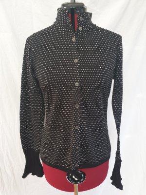 Strickjacke in schwarz mit weißem Muster