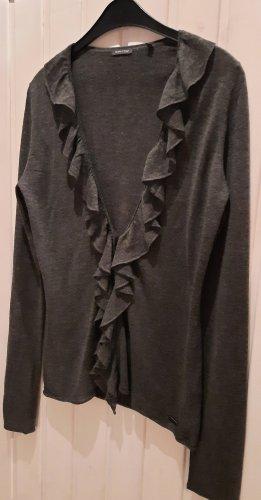 Strickjacke Jacke Rüschen Feinstrick Größe L anthrazit grau