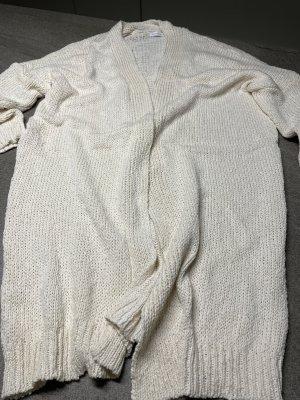 Veste tricotée en grosses mailles crème coton