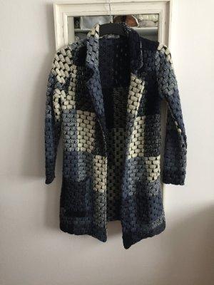 Geisha Cardigan a maglia grossa blu scuro-bianco