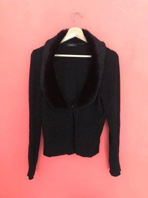Angela Molino for stottrop Veste en tricot noir fourrure