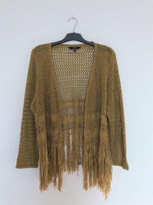 Ulla Popken Coarse Knitted Jacket yellow-dark yellow