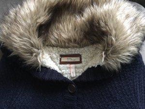 Bershka Veste tricotée en grosses mailles bleu foncé-blanc cassé