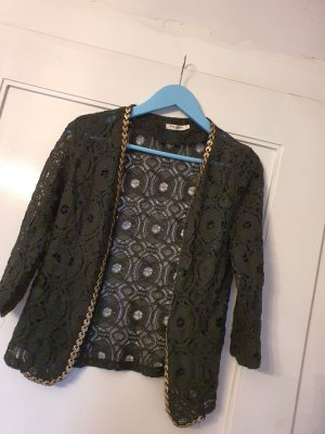 diverse Short Sleeve Knitted Jacket black-gold-colored