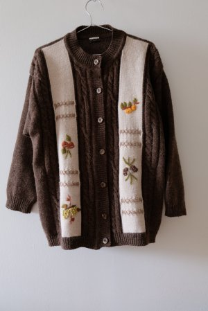 Vintage Coarse Knitted Jacket brown-natural white