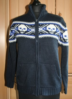 Strickjacke mit Totenköpfen Skull blau 36/38