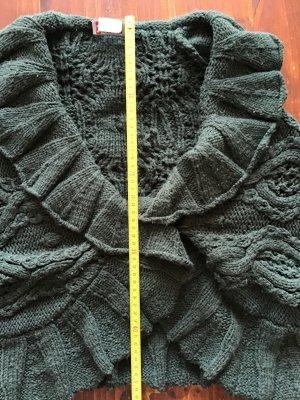 Strickjacke - MORGAN de TOI - dunkel grün - Großer Kragen - Volants - Gr. M -selten getragen