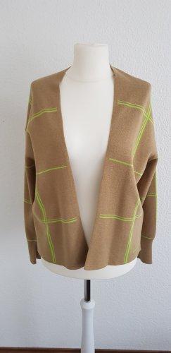 Strickjacke ohne Knöpfe in beige mit hellgrünen Streifen von Street One