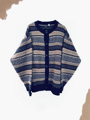 Strickjacke Oversize dick warm Muster beige blau braun Schurwoll*e | vintage | 38-44