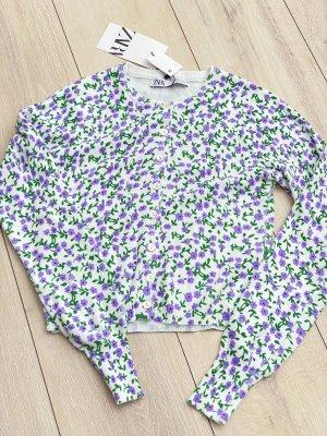 Strickjacke Pullover Zara | lila Flieder grün Blumen Gr. S