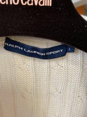 Ralph Lauren Sport Cárdigan de punto grueso blanco puro