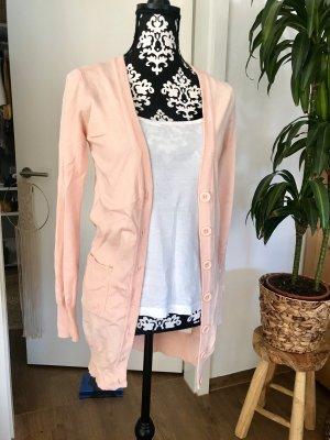 Cardigan lungo smanicato rosa pallido-rosa antico
